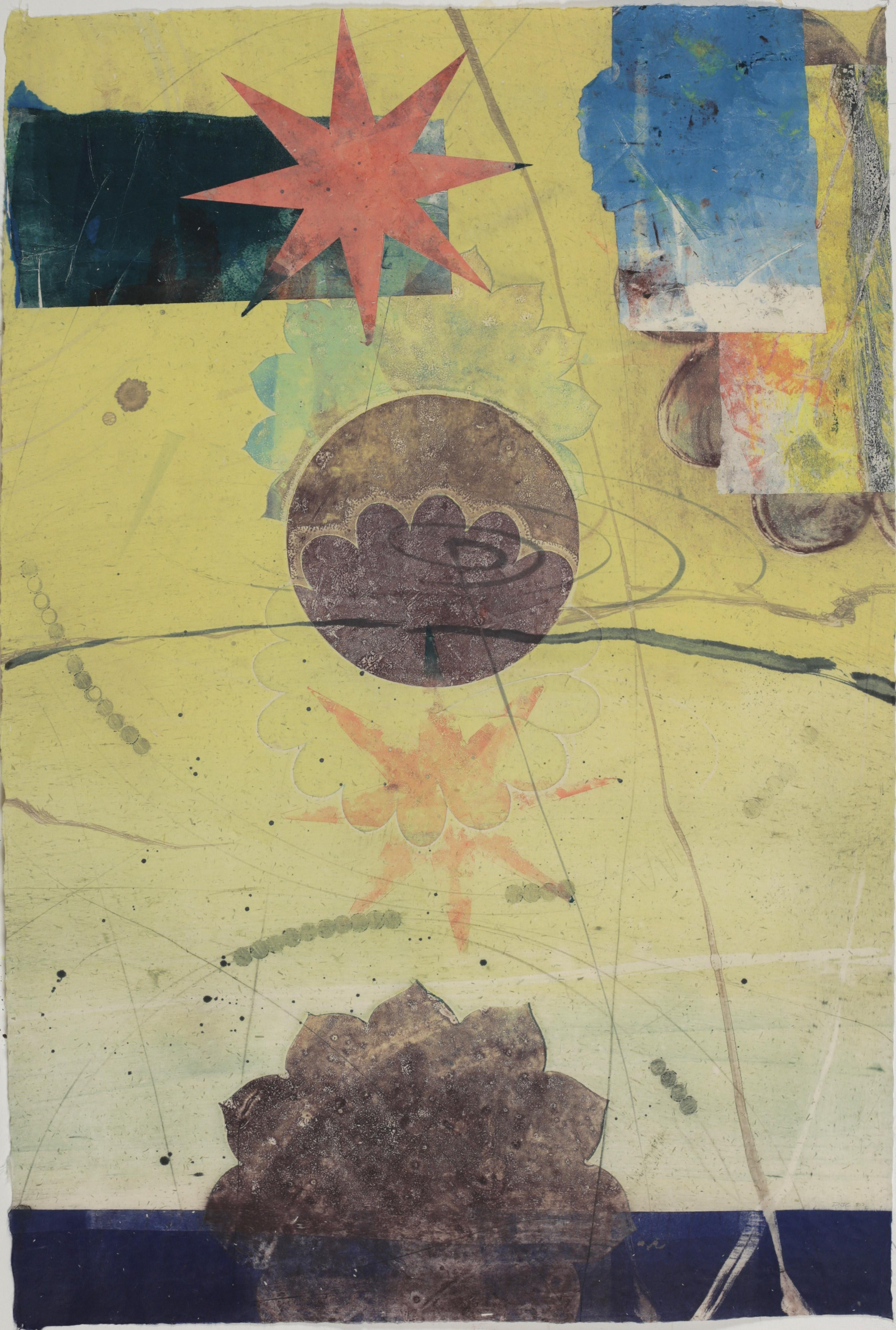 Pilot 35, Vertical Abstract Monotype in Yellow, Blue, Coral Star, Circle, Flower