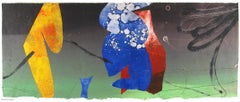 Pilot Jack 17, blue and red geometric abstract monotype on Asian paper, framed