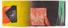 Pilot Jack 21, red and yellow geometric abstract monotype on Asian paper