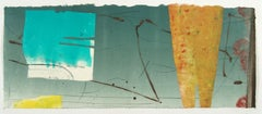 Pilot Jack 40, teal and yellow geometric abstract monotype on Asian paper