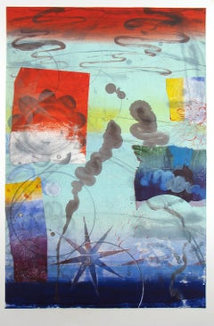 Pilot's Notion Four, Vertical Geometric Abstract Monotype in Blue, Red, Yellow