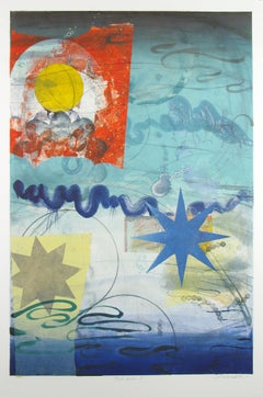 Pilot's Notion One, Vertical Geometric Abstract Monotype in Red, Yellow on Blue