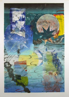 Pilot's Notion Six, Vertical Geometric Abstract Monotype in Yellow, Teal, Blue