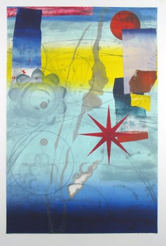 Pilot's Notion Three, Vertical Geometric Abstract Monotype in Blue, Red, Yellow