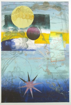 Pilot's Notion Two, Vertical Geometric Abstract Monotype in Yellow, Teal, Blue
