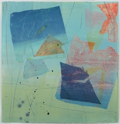 Silk and Stone 24, Geometric Abstract Monotype in Coral, Navy Blue, Mint Green