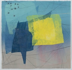 Silk and Stone 27, Geometric Abstract Monotype in Yellow, Blue, Mint Green, Gray