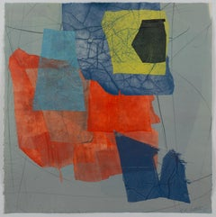 Silk and Stone Eight, Geometric Abstract Monotype in Red, Blue, Yellow, Coral