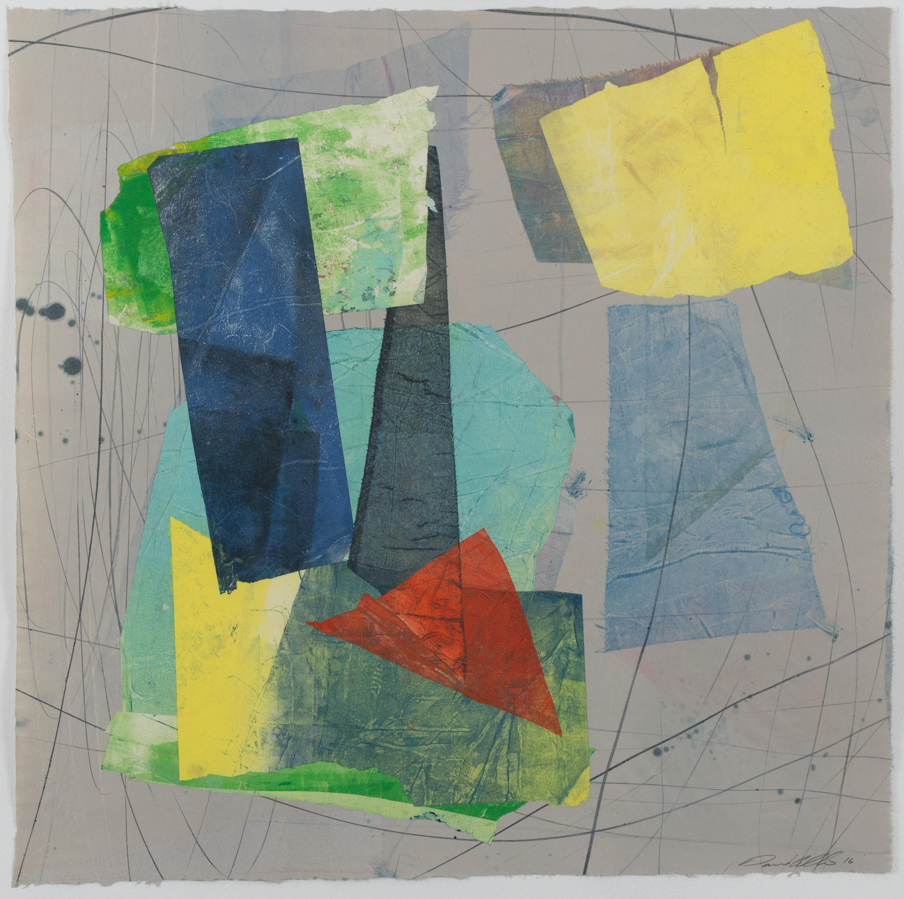 Silk and Stone Nine, Square Geometric Abstract Monotype in Yellow, Blue, Gray