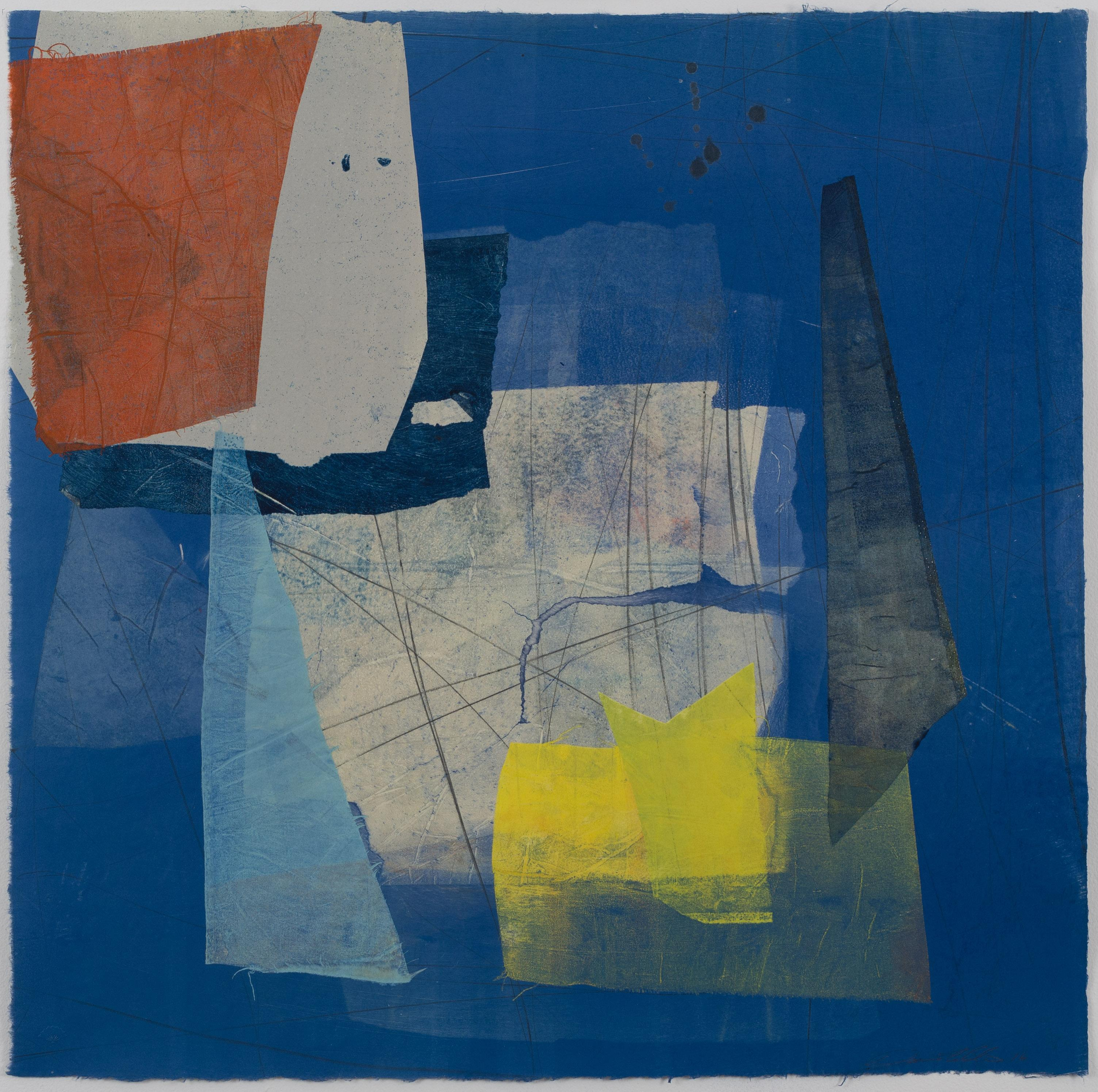Silk and Stone One, Geometric Abstract Monotype in Yellow, Indigo Blue, Coral
