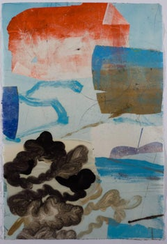 Untitled, Vertical Abstract Geometric Monotype in Light Blue, Coral, Black