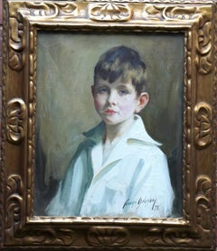 Portrait of a Boy in White Shirt - Scottish 1920's Art Deco male oil painting