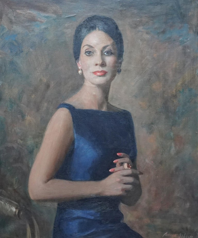 Portrait of a Lady in Midnght Blue - Scottish 1960's art portrait oil painting - Gray Portrait Painting by David Cowan Dobson