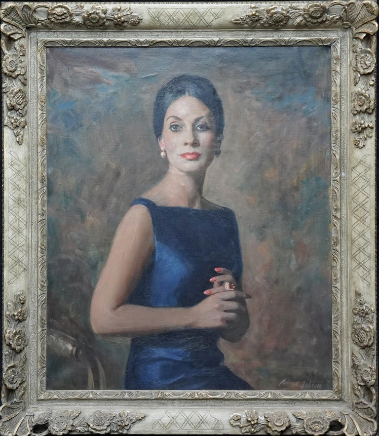 This impressive portrait oil painting is by noted Scottish artist David Cowan Dobson. Painted circa 1960 it is a half length seated portrait of a sophisticated woman in a silk midnight blue dress. The light beautifully catches her as she confidently