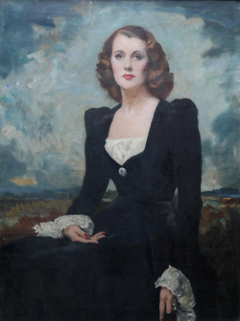 Portrait of a Lady - Thelma Gilmour Smith - Scottish 1950's art oil painting  - Painting by David Cowan Dobson