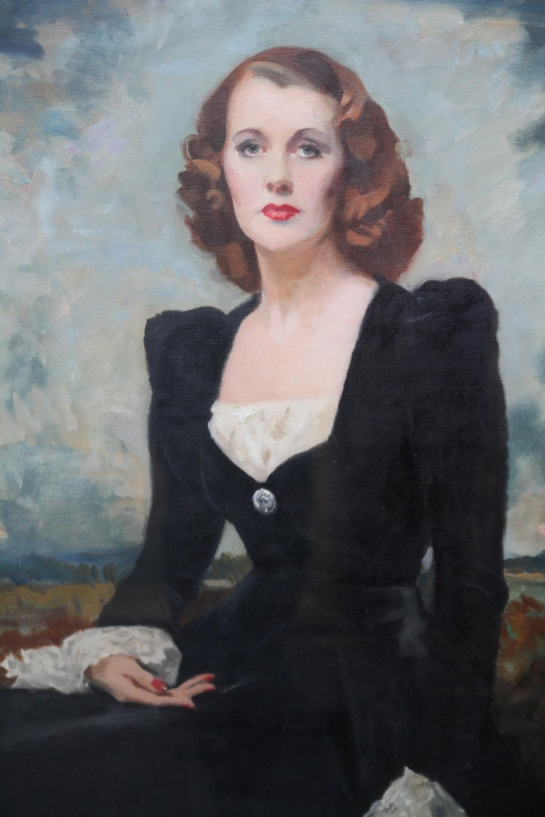 Portrait of a Lady - Thelma Gilmour Smith - Scottish 1950's art oil painting  - Realist Painting by David Cowan Dobson