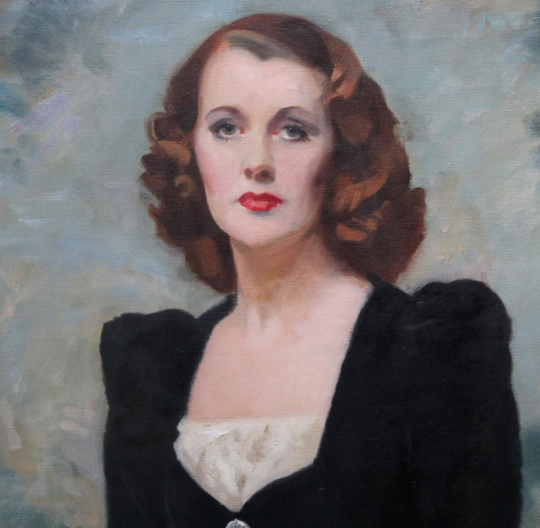 Portrait of a Lady - Thelma Gilmour Smith - Scottish 1950's art oil painting  - Black Portrait Painting by David Cowan Dobson