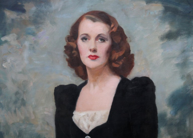 This striking oil on canvas portrait of a lady is by Scottish artist David Cowan Dobson. Painted circa 1950 this seated portrait of Thelma Gilmour Smith wearing a stunning black dress is composed with landscape and sky as a dramatic romantic
