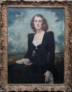 Portrait of a Lady - Thelma Gilmour Smith - Scottish 1950's art oil painting