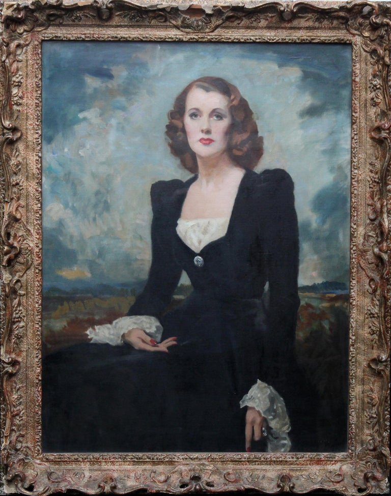 David Cowan Dobson Portrait Painting - Portrait of a Lady - Thelma Gilmour Smith - Scottish 1950's art oil painting