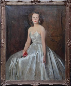 Portrait of a Lady with Red Rose - Scottish 1940's art portrait oil painting