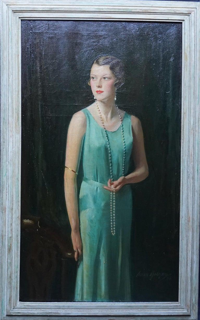 Portrait of Lady Sarah McKinstry - Scottish Art Deco 1930 portrait oil painting For Sale 8