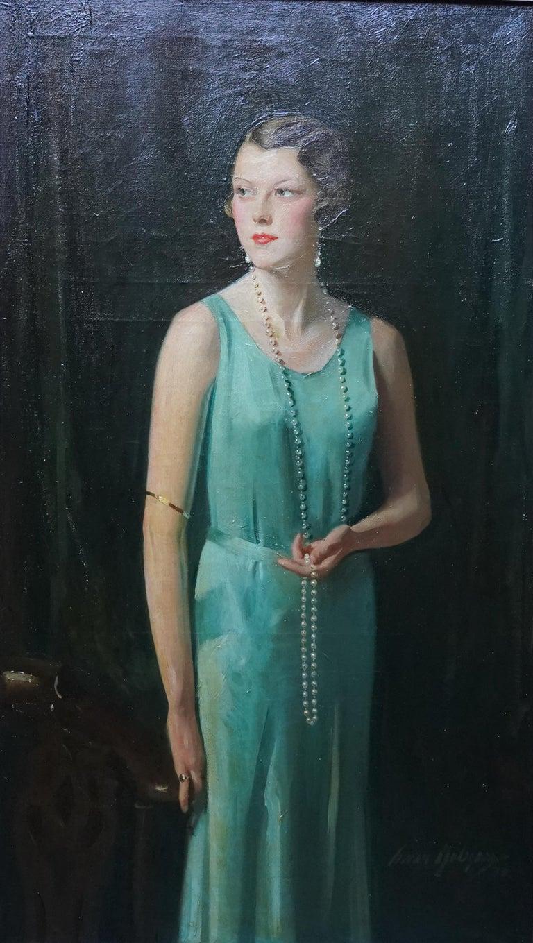 Portrait of Lady Sarah McKinstry - Scottish Art Deco 1930 portrait oil painting - Painting by David Cowan Dobson