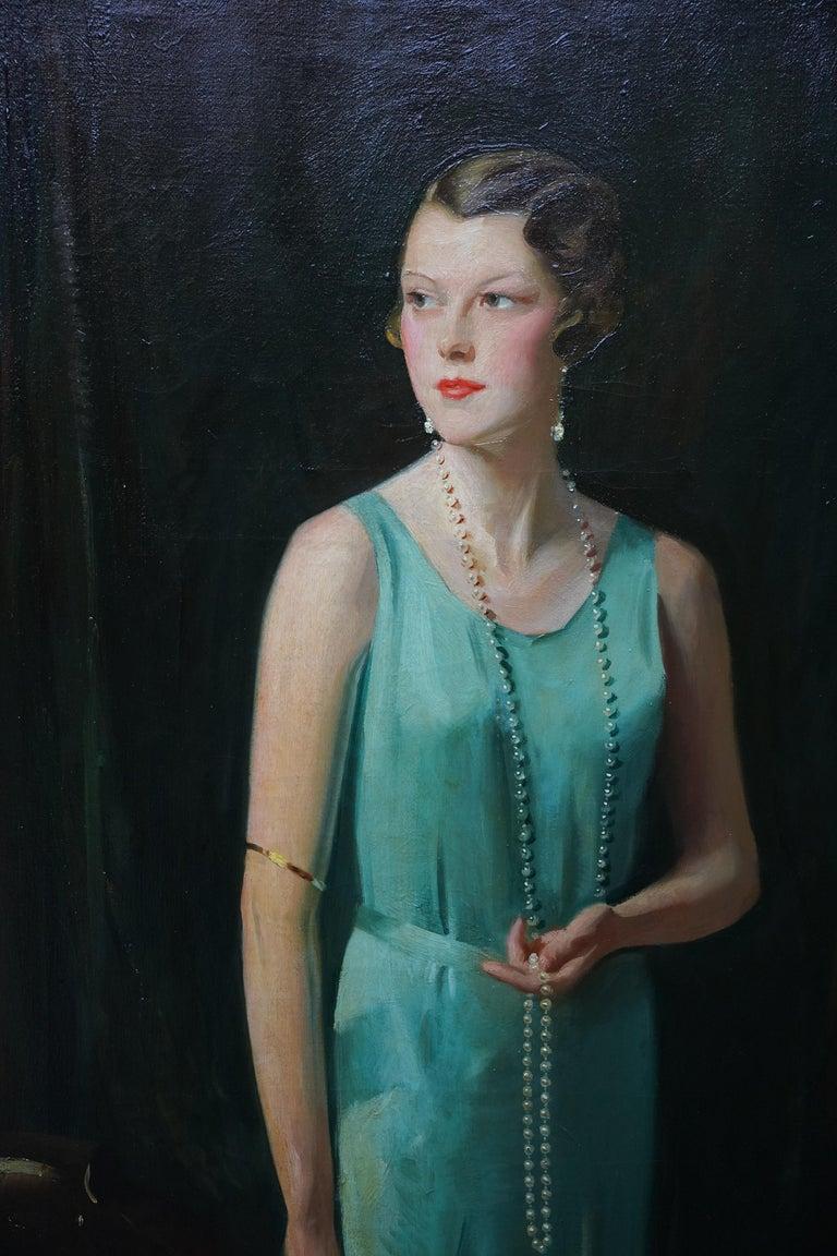 Portrait of Lady Sarah McKinstry - Scottish Art Deco 1930 portrait oil painting - Black Portrait Painting by David Cowan Dobson