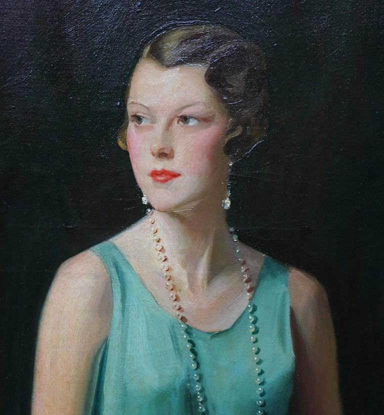 Portrait of Lady Sarah McKinstry - Scottish Art Deco 1930 portrait oil painting For Sale 1