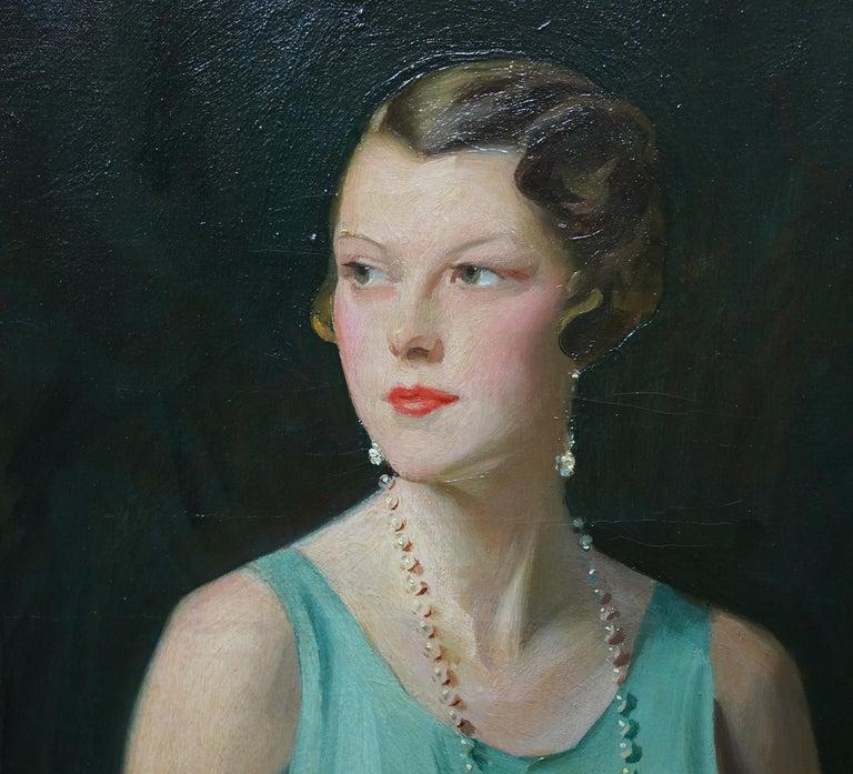 Portrait of Lady Sarah McKinstry - Scottish Art Deco 1930 portrait oil painting For Sale 2