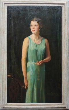 Portrait of Lady Sarah McKinstry - Scottish Art Deco 1930 portrait oil painting