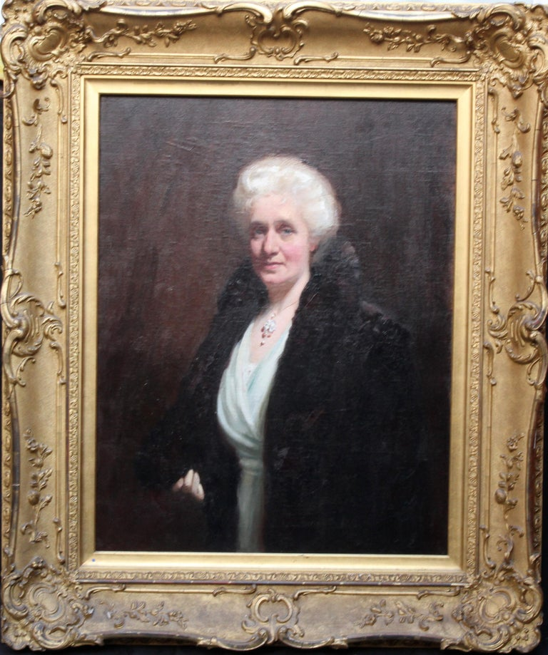 Portrait of Mrs R H Sinclair - Scottish 1914 art female portrait oil painting For Sale 7