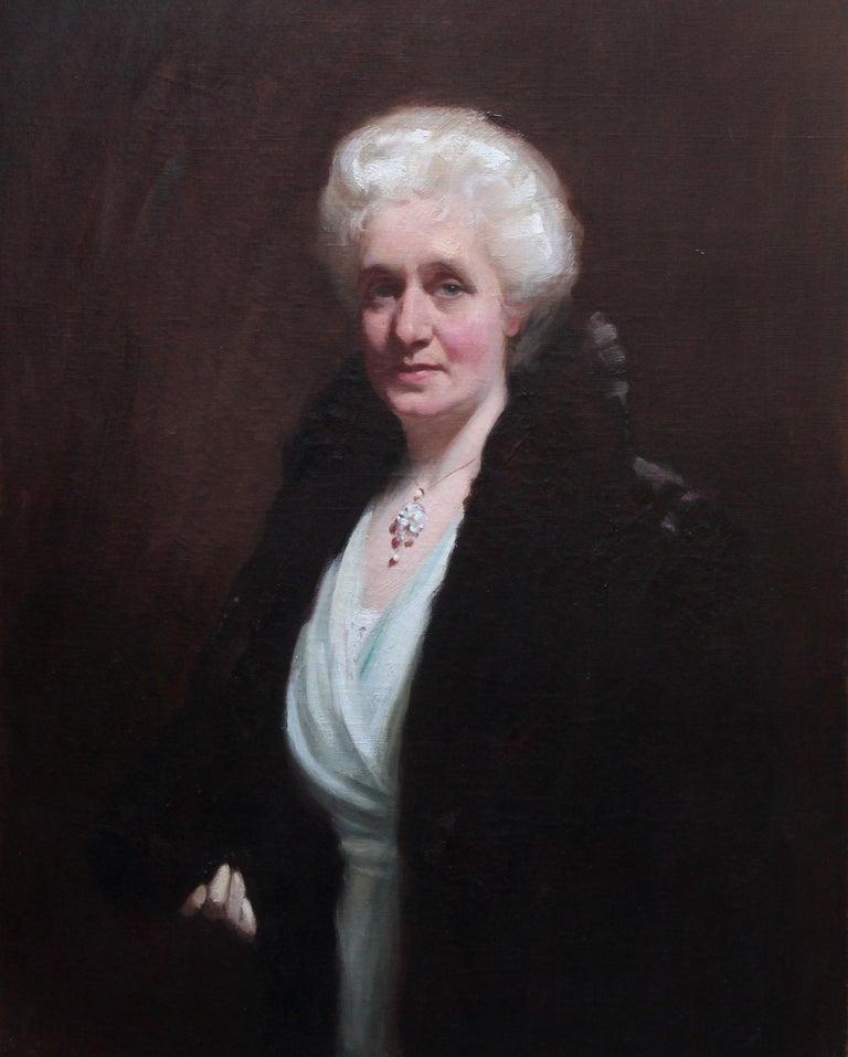 Portrait of Mrs R H Sinclair - Scottish 1914 art female portrait oil painting - Painting by David Cowan Dobson