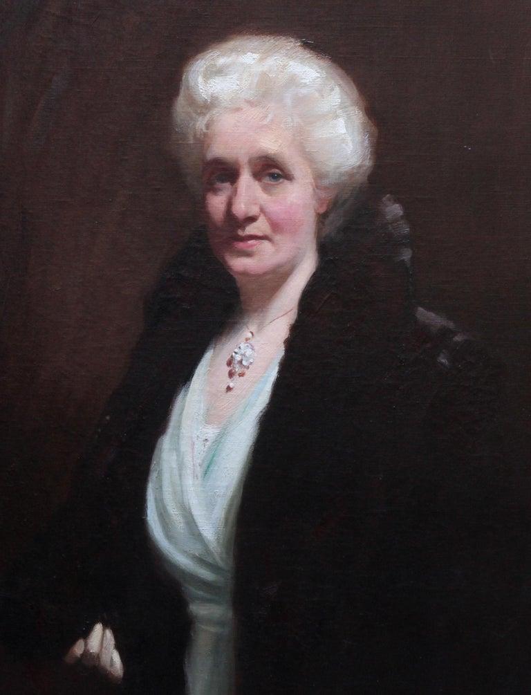 Portrait of Mrs R H Sinclair - Scottish 1914 art female portrait oil painting - Realist Painting by David Cowan Dobson