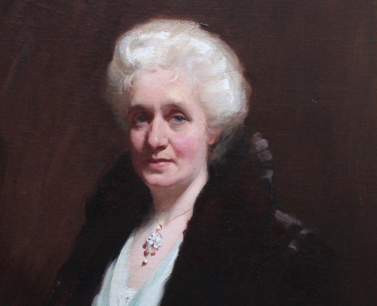 Portrait of Mrs R H Sinclair - Scottish 1914 art female portrait oil painting - Black Portrait Painting by David Cowan Dobson