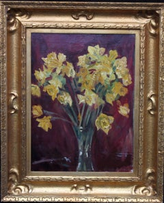 Spring Daffodils - Art Deco 1930s still life floral oil painting yellow flowers
