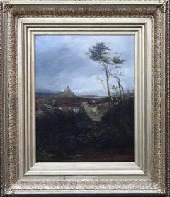 Welsh Ruins Landscape - British Victorian 19thC art landscape oil painting