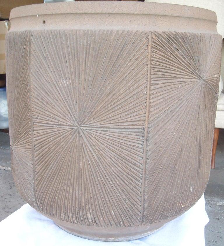 Modern David Cressey and Robert Maxwell Large Planter, Pot, Earthgender Vessel Sunburst For Sale