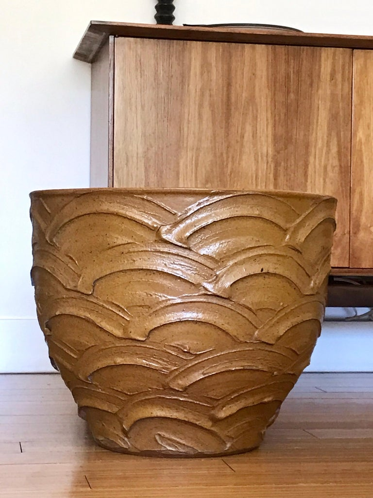 A great California design planter. Handcrafted reduction fired stoneware with Cressey's own