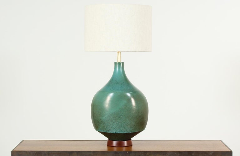 Mid-Century Modern David Cressey Glazed Teal Ceramic Table Lamp for Architectural Pottery For Sale