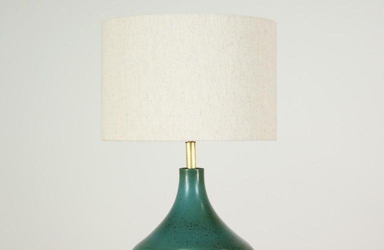 American David Cressey Glazed Teal Ceramic Table Lamp for Architectural Pottery For Sale