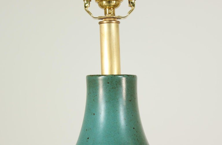 Brass David Cressey Glazed Teal Ceramic Table Lamp for Architectural Pottery For Sale