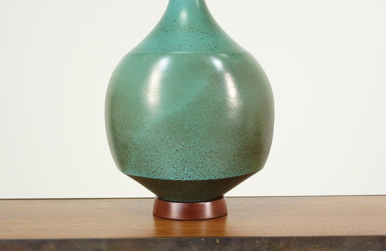 David Cressey Glazed Teal Ceramic Table Lamp for Architectural Pottery For Sale 2