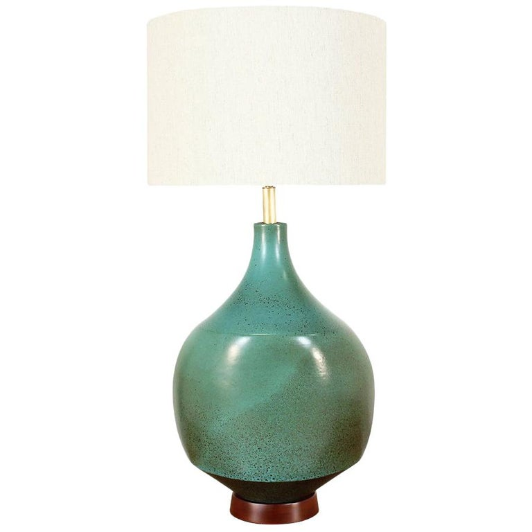 David Cressey Glazed Teal Ceramic Table Lamp for Architectural Pottery For Sale