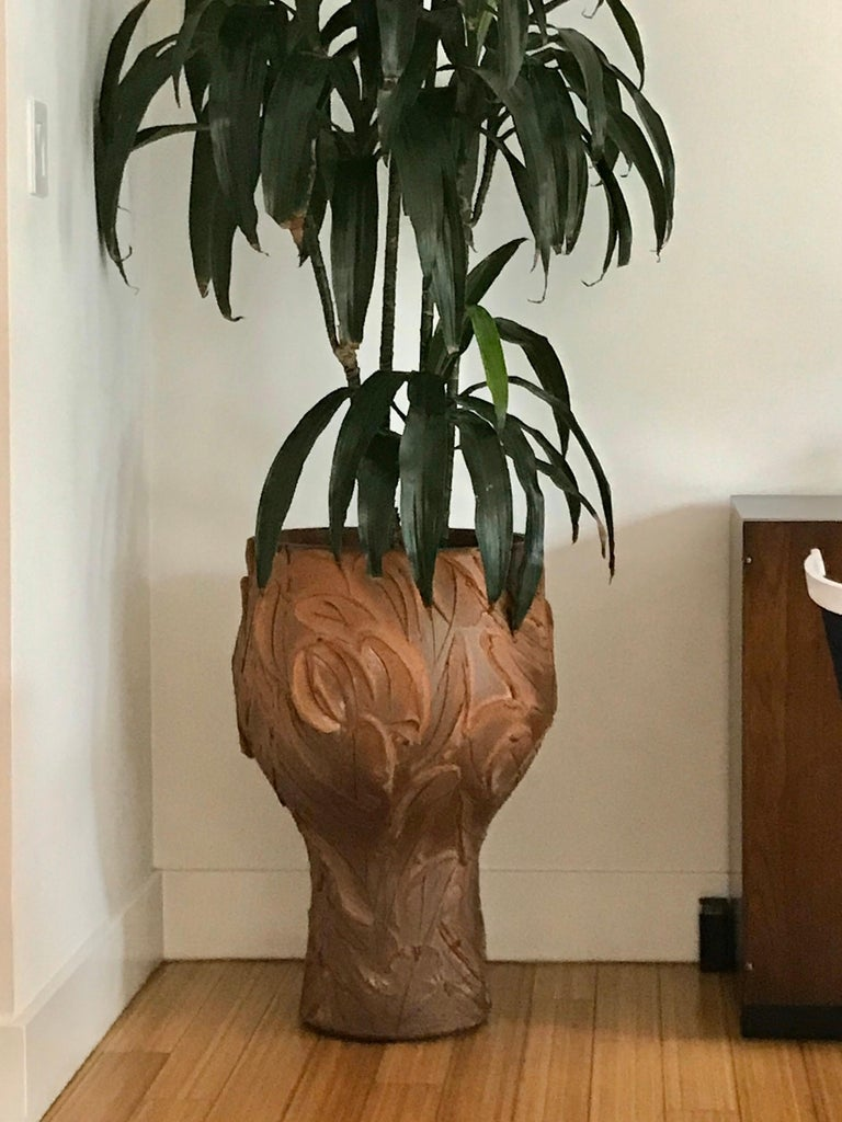 A great California design planter as art. Handcrafted reduction fired natural stoneware of Cressey's own