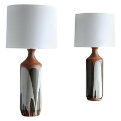 "David Cressey Large Scale Pair of ""Flame Glaze"" Ceramic Lamps"