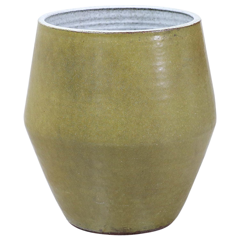 Raul Coronel Olive Green Ceramic Planter for Stoneware Designs