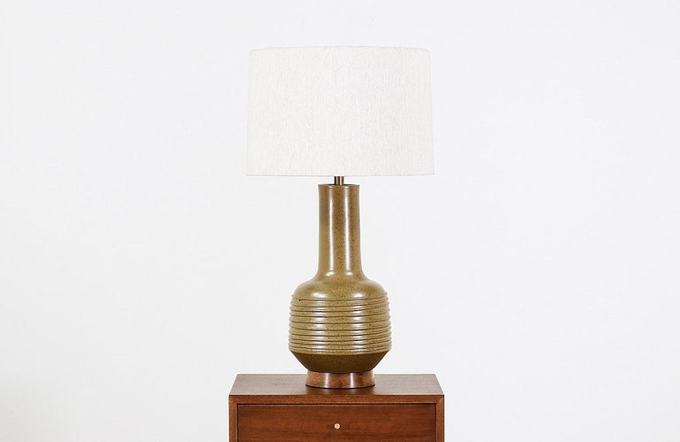Mid-Century Modern David Cressey Olive Green Ceramic Table Lamp for Architectural Pottery For Sale