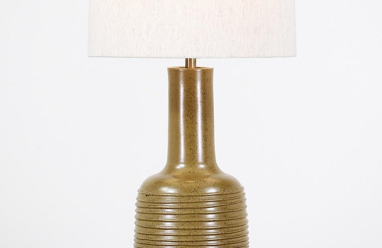 David Cressey Olive Green Ceramic Table Lamp for Architectural Pottery In Excellent Condition For Sale In Los Angeles, CA