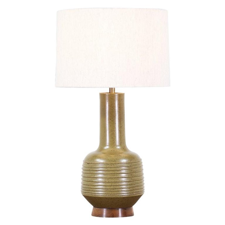 David Cressey Olive Green Ceramic Table Lamp for Architectural Pottery For Sale